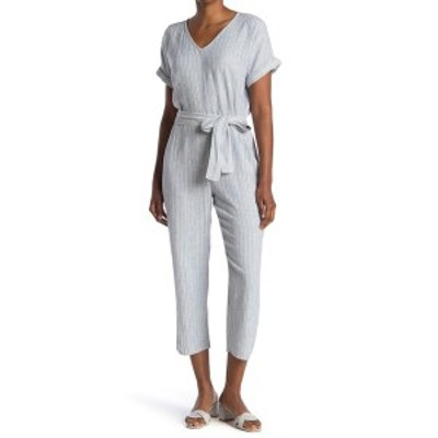 スジーナ レディース ワンピース トップス Stripe Linen Blend Waist Tie Jumpsuit IVORY- BLUE SEASIDE STRIPE