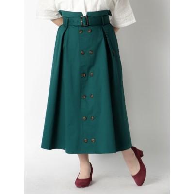 【大きいサイズ】【L-3L】上品デザイントレンチスカート 大きいサイズ スカート レディース