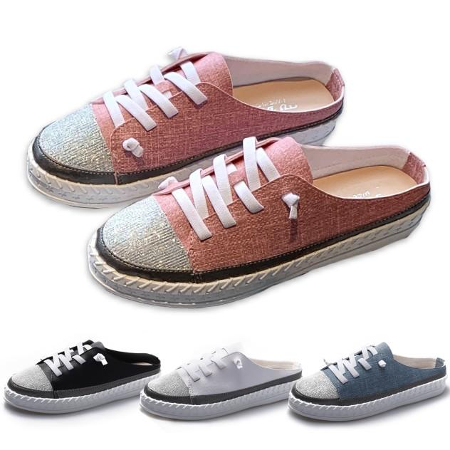 【白鳥麗子】拖鞋 MIT韓風金蔥拼接綁帶星星底圓頭厚底穆勒鞋