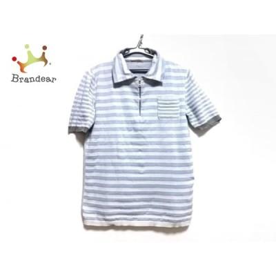 プラダスポーツ 半袖ポロシャツ メンズ ライトグレー×ブルー×グレー ニット/ボーダー 新着 20200805