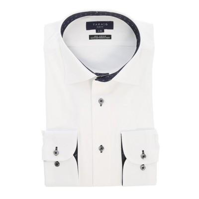 【タカキュー】 ノーアイロン高機能 スリムフィットワイドカラー長袖ニットビジネスドレスシャツワイシャツ メンズ ホワイト S:37-80 TAKA-Q