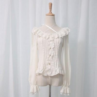ロリィタ ブラウス ゴシックファッション ゴスロリ ゆめかわいい 長袖 薄手 快適 3色 S M L XL