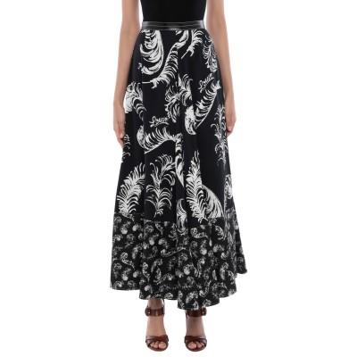 ロエベ LOEWE ロングスカート ブラック 40 レーヨン 100% / リネン / 牛革 ロングスカート