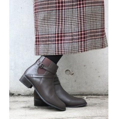 ブーツ 【本革】ベルトデザインサイドゴアショートブーツ(3.5cmヒール)