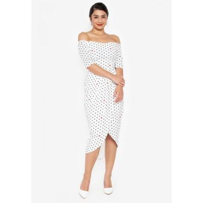 ウェアクリス Wear Kris レディース パーティードレス ミドル丈 ワンピース・ドレス Kristina Off Shoulder Midi Dress WHITE