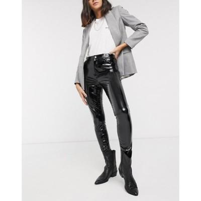 トップショップ レディース カジュアルパンツ ボトムス Topshop vinyl skinny pants in black