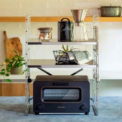 キッチン 家電 キッチン収納 水切り キッチン小物収納 ダブルフレーム ステンレス棚 トースターラック 2段 45cm 581414