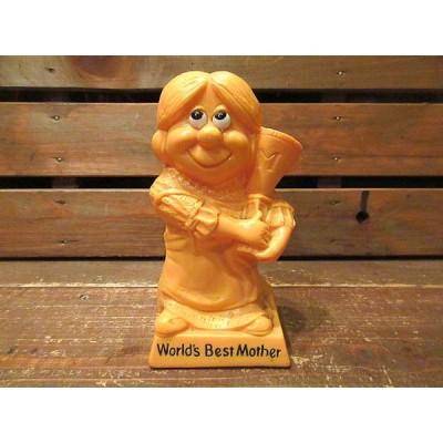 ビンテージ70's★カラーメッセージドール「World's Best Mother」黄色★200409f10-obj雑貨置物インテリア小物ギフトUSA