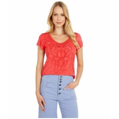 トリバル シャツ トップス レディース Short Sleeve Embroidered Sweet Heart Top Hot Coral