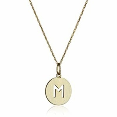 """14k Gold-Filled Round Pierced Initial """"M"""" Disc Charm with Satin Finish Pendant Necklace, 18"""""""