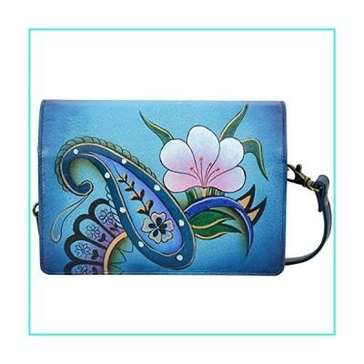 【新品】Anna Anuschka Leather Wallet Crossbody Purse Organizer Wallets with Strap and Many Pockets (Denim Paisley Floral)(並行輸入品)