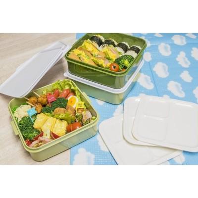 サンコープラスチック 弁当箱 ピクニックケース リオパック 3段 取り皿3枚付き アースグリーン 約幅20.2×奥行19×高さ20cm