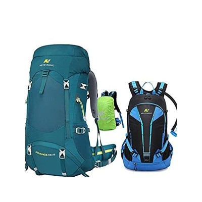 Blue-Green 45+5L Internal Frame Hiking Backpack with Blue 20L Hydration Cyc好評発売中