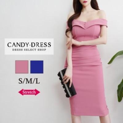 【予約】S/M/L 送料無料 Luxury Dress ストレッチ無地×ウエストドレープデザインオフショルダータイトミディドレス PE200408 韓国 ブラ