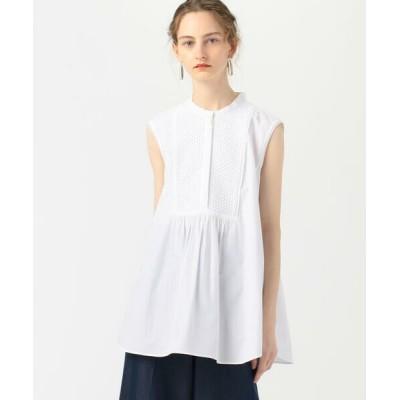 TOMORROWLAND/トゥモローランド ホワイトコンビネーション ボザムノースリーブシャツ 11 ホワイト 36(9号)