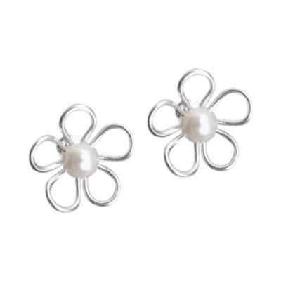 イヤリング アルヴィダ Handmade Mystic Flower Freshwater Pearl Center .925 Silver Earrings (Thailand)