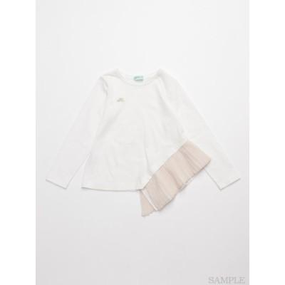 hakka kids (ハッカキッズ) プリーツポイント長袖Tシャツ ホワイト 120