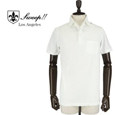 スウィープ!! ロサンゼルス SWEEP!! LosAngeles  メンズ ミニワッフル コットン ポロシャツ Pocket Polo WHITE(ホワイト)
