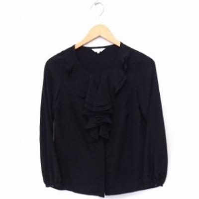 【中古】エムプルミエ M-Premier シャツ ブラウス フリル 無地 長袖 34 ブラック 黒 /FT48 レディース