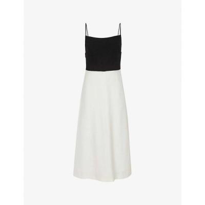 リース REISS レディース ワンピース ワンピース・ドレス Isabella contrast-skirt chiffon dress BLACK/WHITE