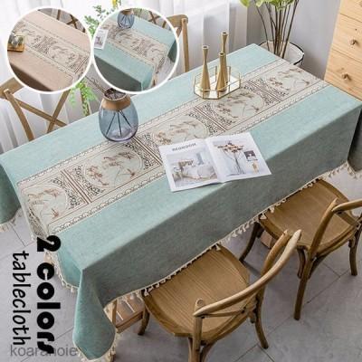 テーブルクロス 北欧 おしゃれ テーブルセッティング 布 四角形 長方形 綿麻 刺繍 風景柄 高級感 テーブルクロス お手入れ簡単 家庭用 食卓カバー 2色