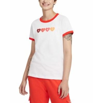 ナイキ レディース シャツ トップス Logo Hearts Graphic Ringer T-Shirt White