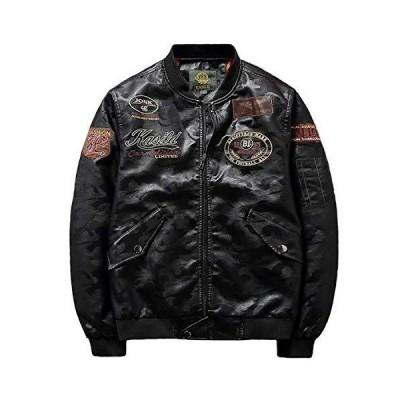 [SunSet Hill] メンズ レザー ジャケット ライダース ジャケット バイク 刺繍 革ジャン アウター ブルゾン シンプル
