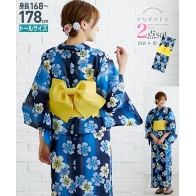 浴衣 トールサイズ レディース 2点セット ゆかた+作り帯 紺 桜 +黄 MTT~LTT ニッセン