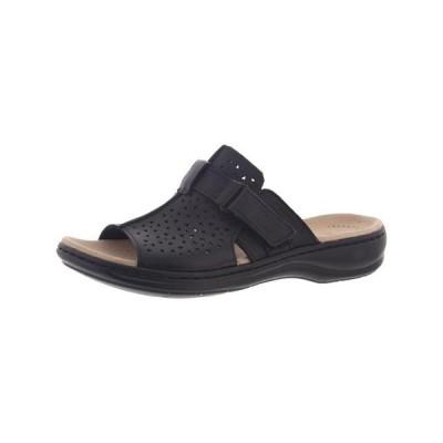 レディース 靴 コンフォートシューズ Clarks Womens Leisa Fox Leather Slip On Slide Sandals Black 10 Medium (B M)