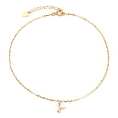 イニシャルアンクレット/Y レディース ダイヤモンド 10金ピンクゴールド K10 PG (即納)
