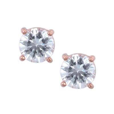 アンクライン レディース ピアス・イヤリング アクセサリー Round Rose Gold Crystal Stud Earrings