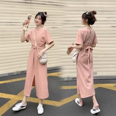 半袖 ロングスカート ピンク スカート ゆったり スリム 普段着 人気 春夏 スリット おじゃれ カジュアル 可愛い エレガント 調整出来る