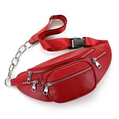 レザー ウエストバッグ スマホポーチ 斜めかけバッグ メッセンジャーバッグ レザー素材 5つのジップ付きポケット 財布 携帯ベルトポーチ ポケット付き スポーツ