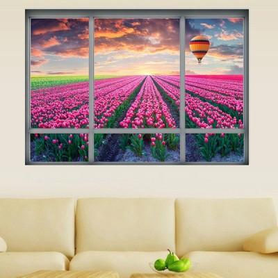ウォールステッカー 壁紙シール シールタイプ 窓辺 窓枠 景色 風景 3D 立体的 チューリップ畑 夕焼け空 気球 美麗 壁シール トリックアート だ