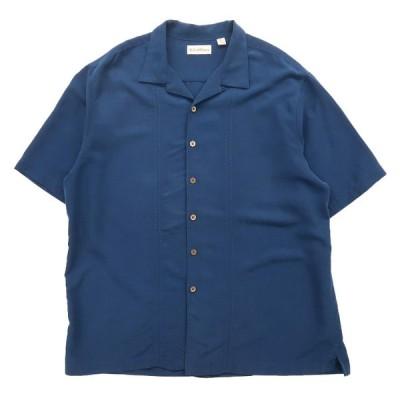 開襟 オープンカラーシャツ ブルー サイズ表記:XL