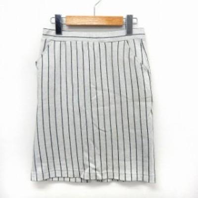 【中古】アーバンリサーチ URBAN RESEARCH スカート タイト ストライプ 膝丈 ウエストゴム スリット ONE ホワイト
