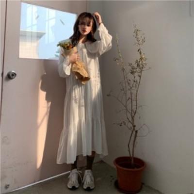 【ワンサイズ】 大きいサイズ レディース 襟 フリル ロングスリーブ ドレス パーティー 結婚式 カジュアル お出かけ 70644