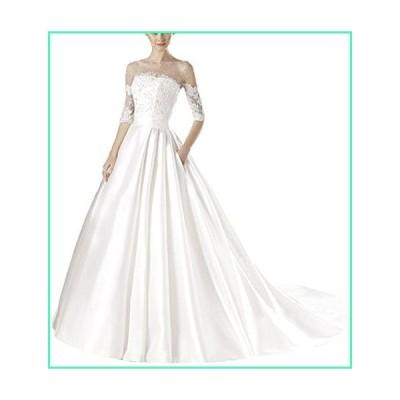 Vnaix Bridals Gorgeous 2015 Pearls Satin Long Sleeves Ball Wedding Dresses(14,White)並行輸入品