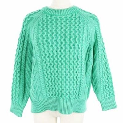【中古】デミリー DEMYLEE セーター ニット クルーネック ケーブル オーバーサイズ 長袖 S 緑 グリーン レディース