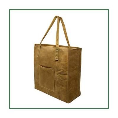 ワックスキャンバストートバッグ 食料品バッグ 再利用可能なショッピングバッグ ポケット付き 超強力