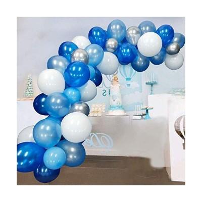 風船 誕生日 飾り付け ネイビースカイブルーホワイトとシルバーメタリックカラー パーティー用風船117個 ベビーシャワー