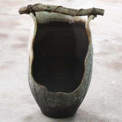 白窯変手桶花入   信楽焼 陶器 花入れ 花器 花入 花瓶    彩り屋_