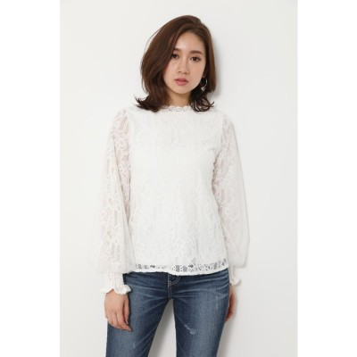 Lace on tulle SLV TOP WHT