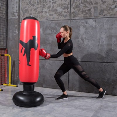インフレータブルパンチングバッグ自立ボクシングパンチバッグ少年少女のため.自立ボクシング練習インフレータブル土嚢おもちゃ