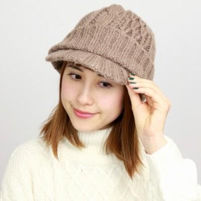 帽子 ニット ツバ付き メンズ レディース ニットキャップ ニット帽 秋冬 ローゲージ ざっくり