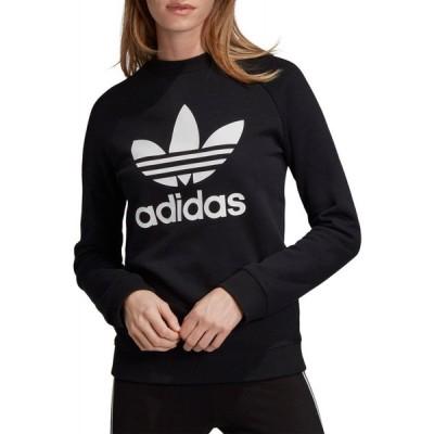アディダス adidas レディース スウェット・トレーナー トップス Originals Trefoil Crew Sweatshirt Black