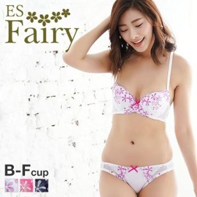23%OFF (イーエスフェアリー)ES Fairy サマーフラワー 3/4カップ ブラジャー ショーツ セット BCDEF 大きいサイズ