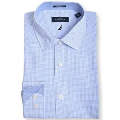 ナウティカ メンズ シャツ トップス Men's Slim Fit Plaid Dress Shirt White, Light Blue