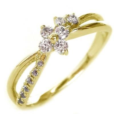 ダイヤモンド リング ゴールド K18 花 フラワー K18yg ダイヤ 0.2ct