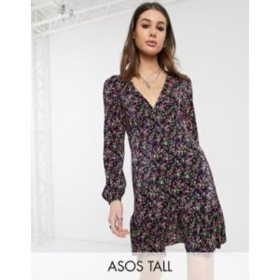 エイソス レディース ワンピース トップス ASOS DESIGN Tall long sleeve mini plisse tea dress pep hem in black ditsy print Black di